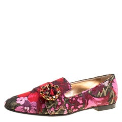 Dolce and Gabbana Multicolor Floral Brocade Fabric Jackie Crystal Brooch Loafers