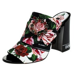 Dolce and Gabbana Multicolor Floral Fabric Crystal  Bow Open Toe Mules Size 35