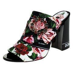 Dolce and Gabbana Multicolor Floral Fabric Crystal Bow Open Toe Mules Size 37.5