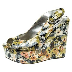 Dolce and Gabbana Multicolor Floral  Patent Leather  Wedge Slingback Sandals Siz