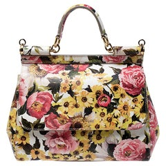 Dolce and Gabbana Multicolor Floral Print Leather Medium Miss Sicily Top Handle