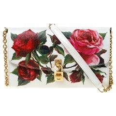 Dolce and Gabbana Multicolor Floral Print Leather Padlock Chain Shoulder Bag