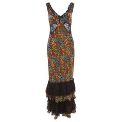 Dolce and Gabbana Multicolor Floral Print Sheer Insert Sleeveless Maxi Dress M