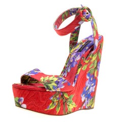 Dolce and Gabbana Multicolor Floral Printed Fabric Platform Wedge Sandals 40
