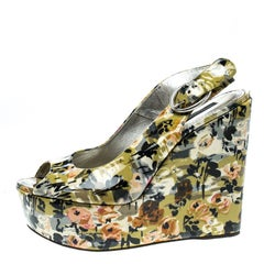 Dolce and Gabbana Multicolor Floral Printed Patent Leather Peep Toe Wedge Slingb