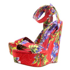 Dolce and Gabbana Multicolor Floral Printed  Platform Wedge Sandals Size 40