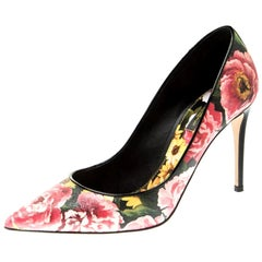 Dolce And Gabbana Multicolor Floral Saffiano Printed Pointed Toe Pump Size 39.5