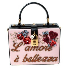 Dolce and Gabbana Multicolor Flower L Amore Embellished Leather Top Handle Bag