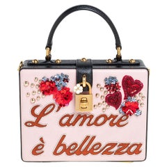 Dolce and Gabbana Multicolor Flower L'Amore Leather Box Pad lock Top Handle Bag