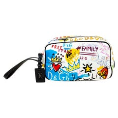 Dolce and Gabbana Multicolor Graffiti Printed Nylon Wash Bag