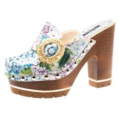 Dolce and Gabbana Multicolor Hydrangea Print Taormina Platform Clogs Size 39