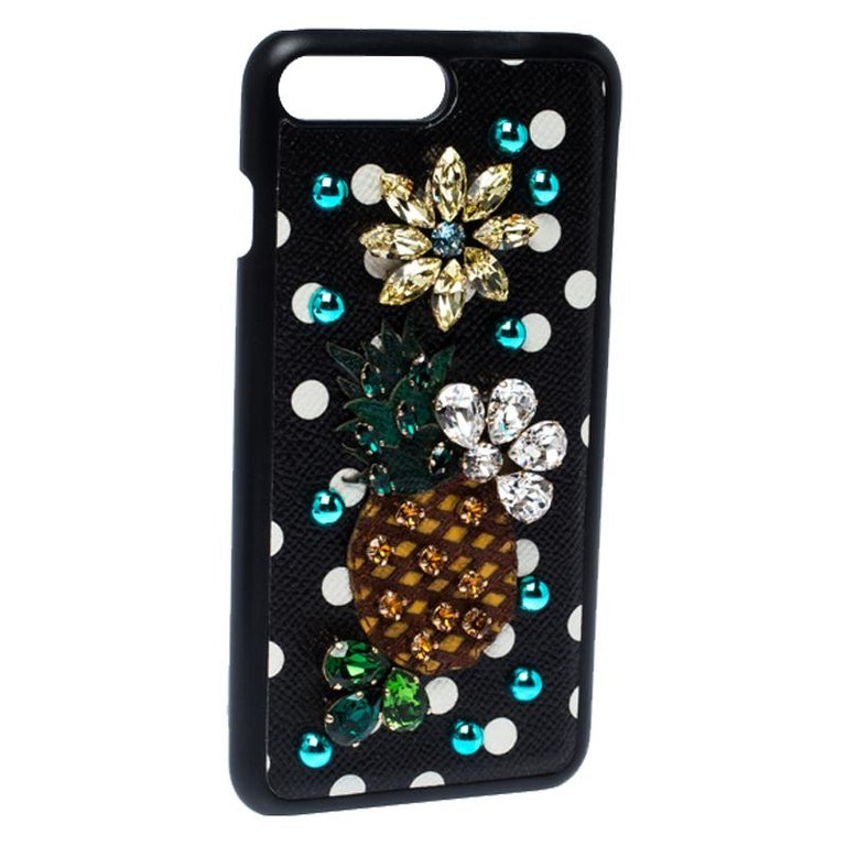 Dolce and Gabbana Multicolor Jewel Embellished Leather iPhone Cover In Good Condition For Sale In Dubai, Al Qouz 2