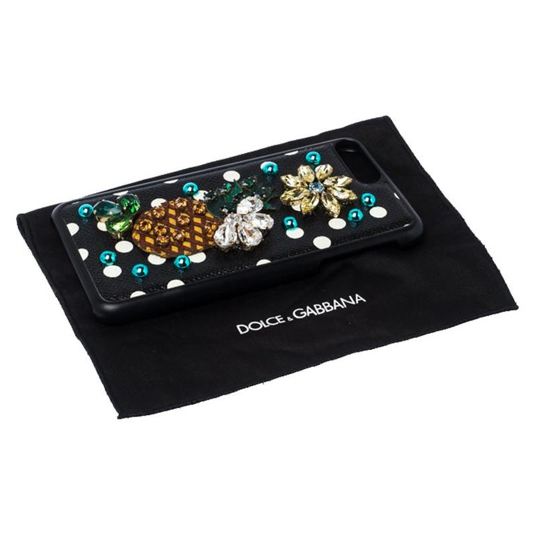 Dolce and Gabbana Multicolor Jewel Embellished Leather iPhone Cover For Sale 1