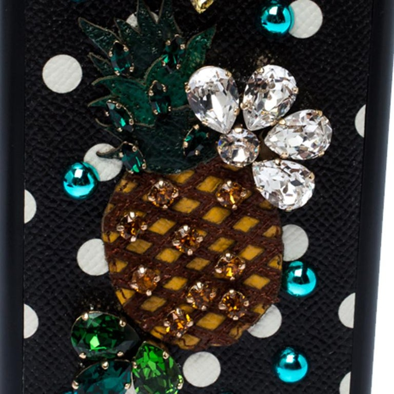 Dolce and Gabbana Multicolor Jewel Embellished Leather iPhone Cover For Sale 2