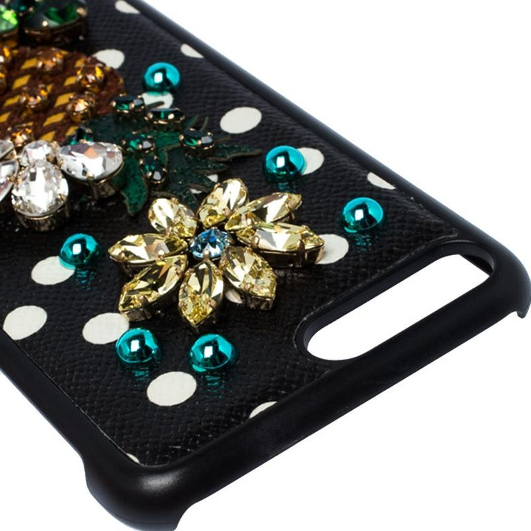 Dolce and Gabbana Multicolor Jewel Embellished Leather iPhone Cover For Sale 4