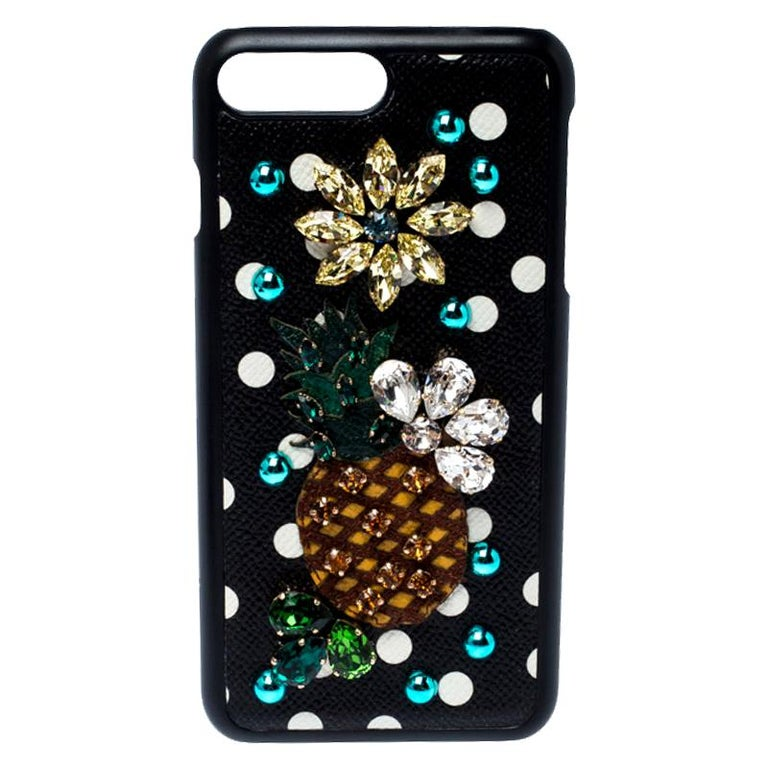 Dolce and Gabbana Multicolor Jewel Embellished Leather iPhone Cover For Sale