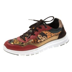 Dolce and Gabbana Multicolor Leather And Tweed Fabric Lace Up Sneakers Size 39