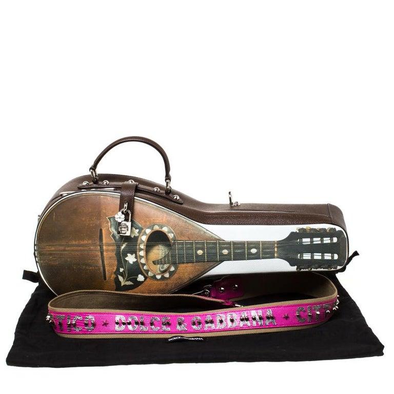 Dolce and Gabbana Multicolor Leather Mandolino Shoulder Bag For Sale 7