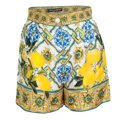 Dolce and Gabbana Multicolor Lemon Print Silk High Waist Shorts S