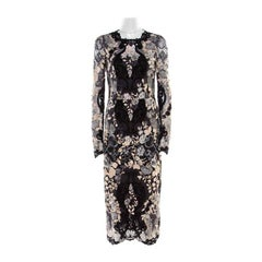 Dolce and Gabbana Multicolor Lurex Detail Embroidered Floral Lace Dress S