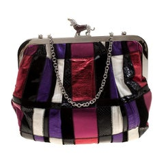 Dolce and Gabbana Multicolor Patchwork Crystal Embellished Chain Clutch