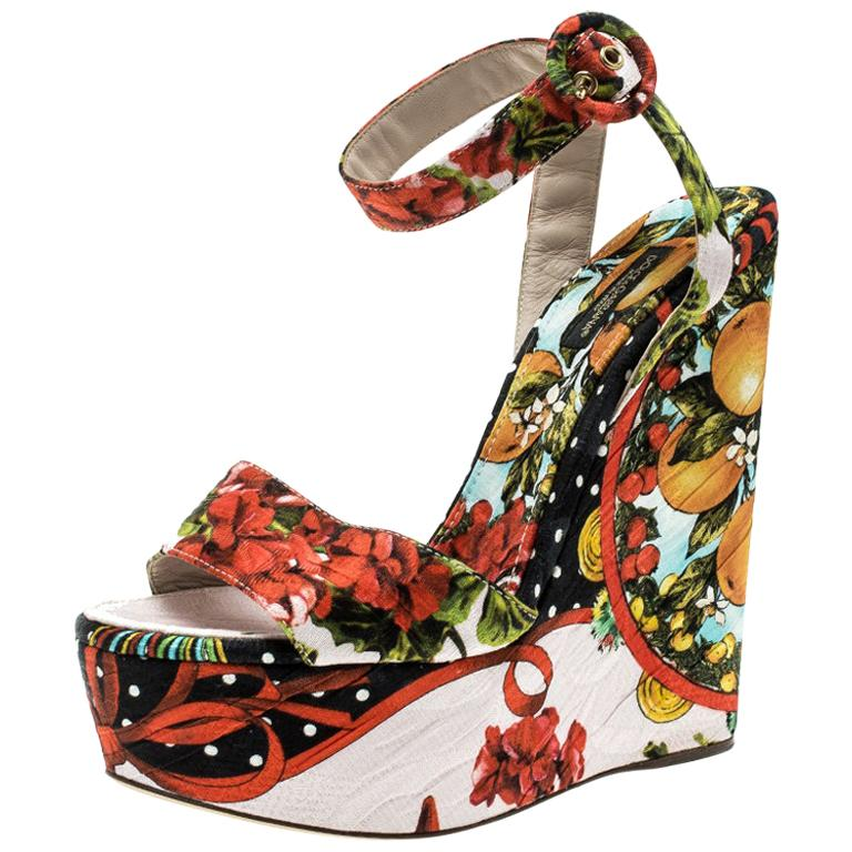 Dolce and Gabbana Multicolor Peep Toe Ankle Wrap Wedge Sandals S For Sale
