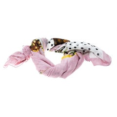 Dolce and Gabbana Multicolor Polka Dotted Pineapple Print Fringed Edge Scarf