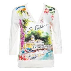 Dolce and Gabbana Multicolor Portofino Printed Silk Sweater S