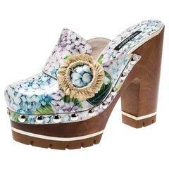 Dolce and Gabbana Multicolor  Print Patent Leather  Platform Clogs Size 36.5
