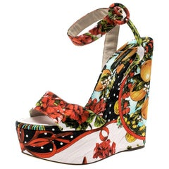Dolce and Gabbana Multicolor Printed Brocade Peep Toe  Wedge Sandals Size 39.5
