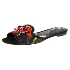 Dolce and Gabbana Multicolor Printed Canvas Sofia Crystal Slides Size 37.5