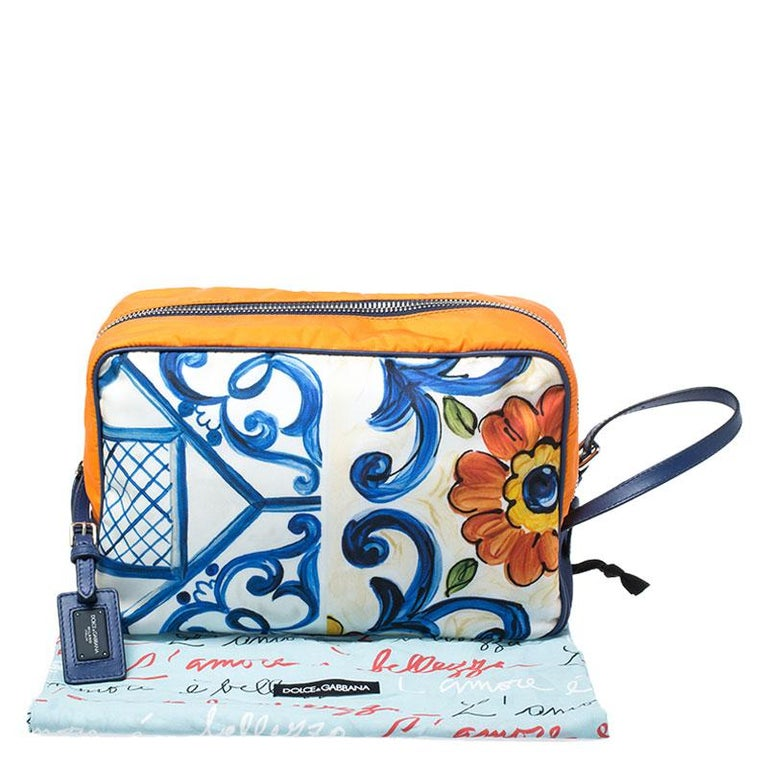 Dolce and Gabbana Multicolor Printed Nylon Wash Bag For Sale 8