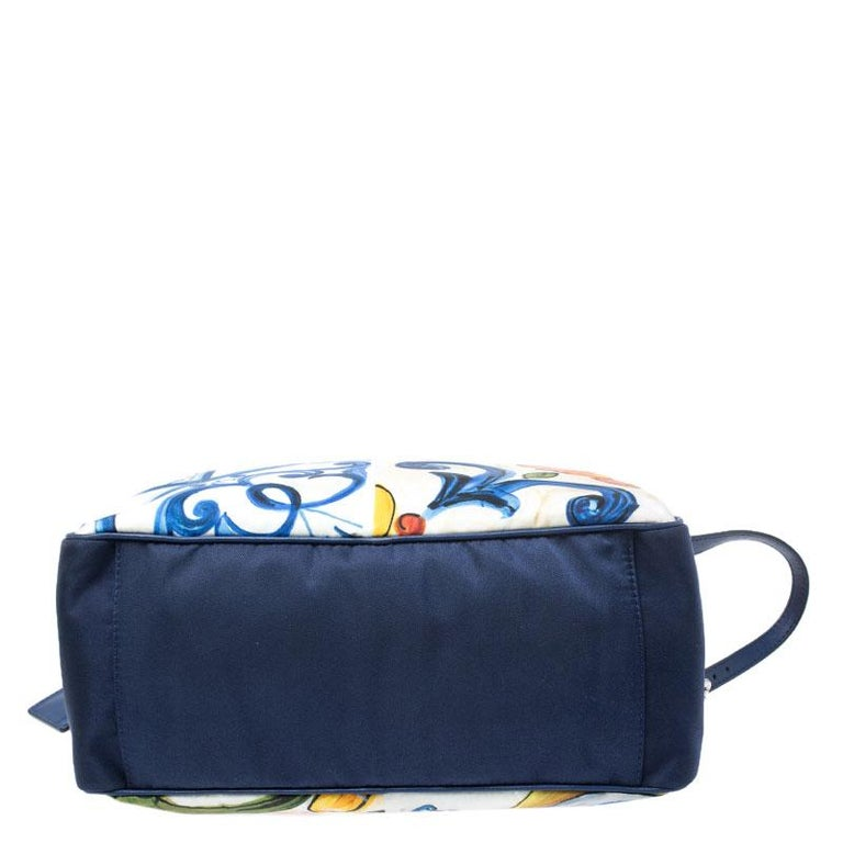 Dolce and Gabbana Multicolor Printed Nylon Wash Bag For Sale 1