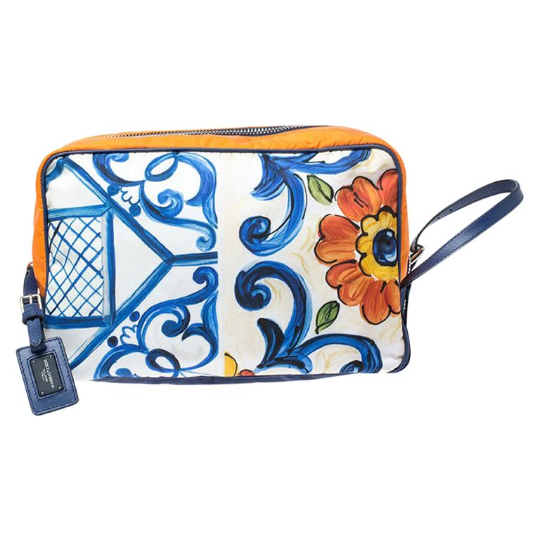 Dolce and Gabbana Multicolor Printed Nylon Wash Bag For Sale