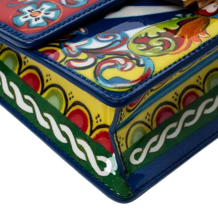 Dolce and Gabbana Multicolor Printed Patent Leather Mini Rosalia Crossbody Bag For Sale 5