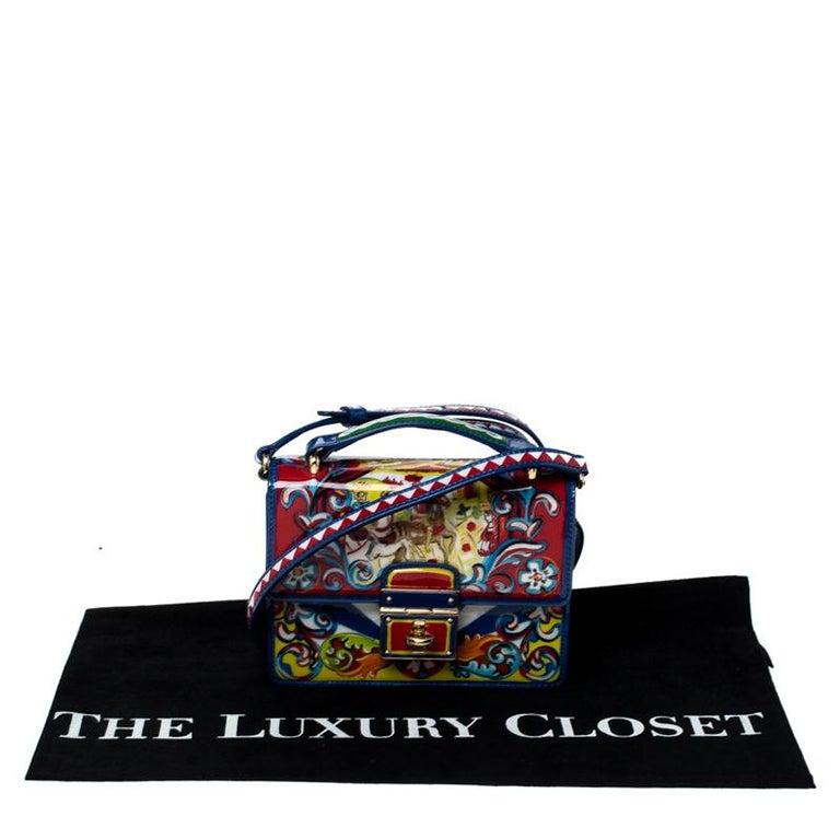 Dolce and Gabbana Multicolor Printed Patent Leather Mini Rosalia Crossbody Bag For Sale 6