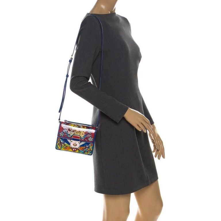 Black Dolce and Gabbana Multicolor Printed Patent Leather Mini Rosalia Crossbody Bag For Sale
