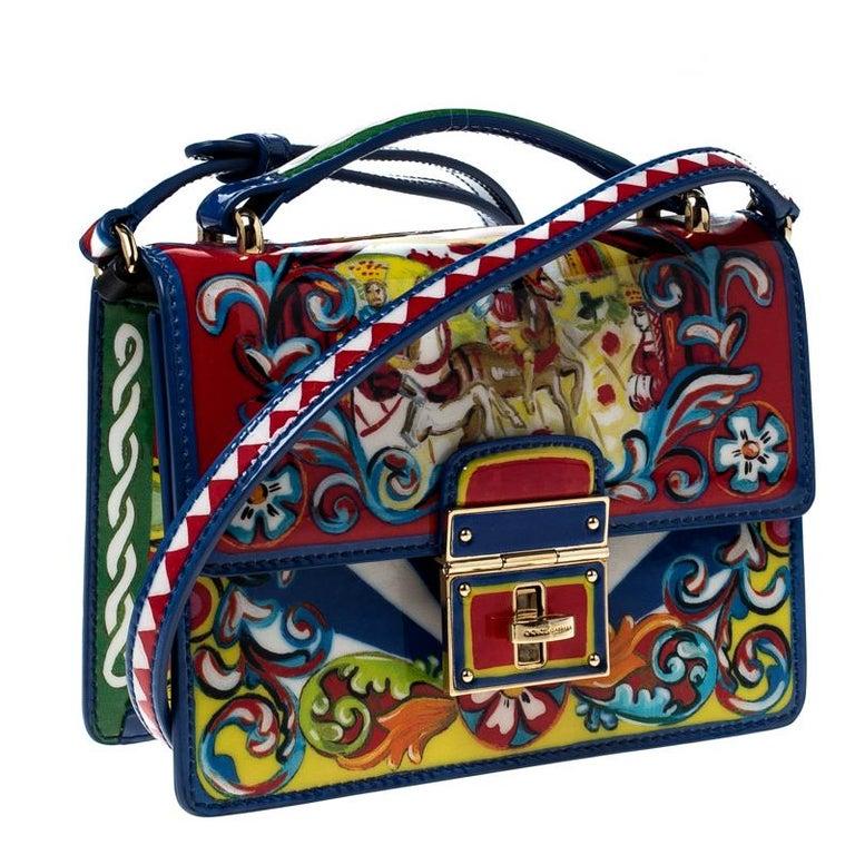 Dolce and Gabbana Multicolor Printed Patent Leather Mini Rosalia Crossbody Bag In Good Condition For Sale In Dubai, Al Qouz 2