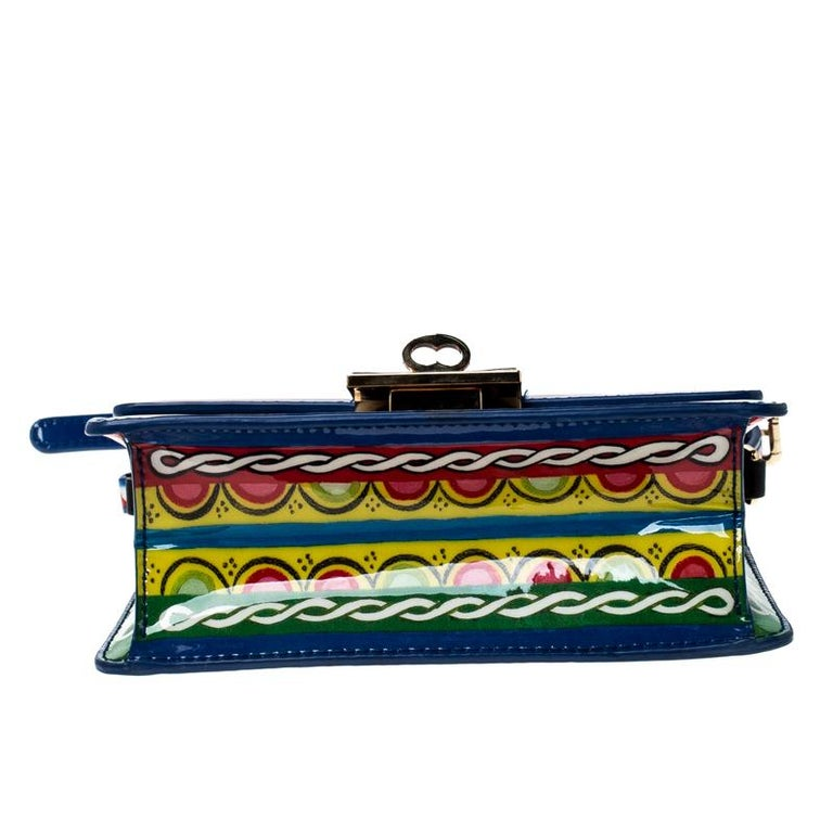 Women's Dolce and Gabbana Multicolor Printed Patent Leather Mini Rosalia Crossbody Bag For Sale