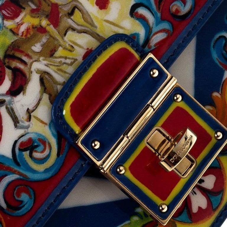 Dolce and Gabbana Multicolor Printed Patent Leather Mini Rosalia Crossbody Bag For Sale 1