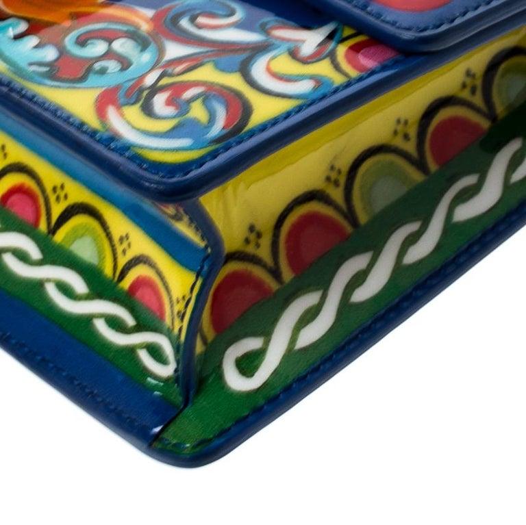 Dolce and Gabbana Multicolor Printed Patent Leather Mini Rosalia Crossbody Bag For Sale 4