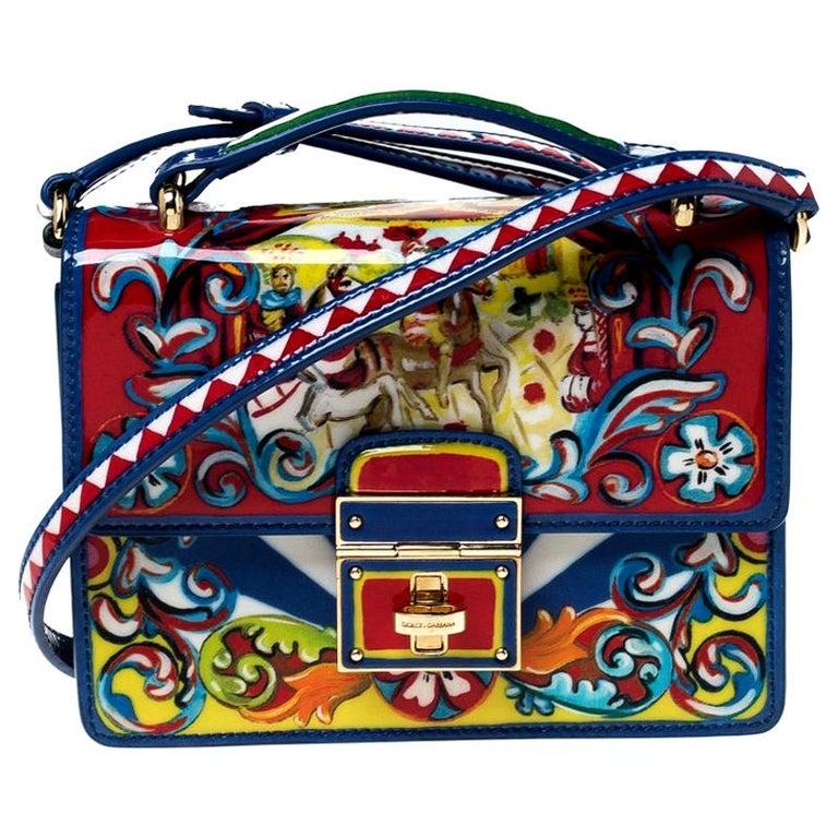 Dolce and Gabbana Multicolor Printed Patent Leather Mini Rosalia Crossbody Bag For Sale
