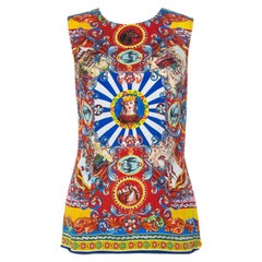 Dolce and Gabbana Multicolor Printed Silk Sleeveless Top M
