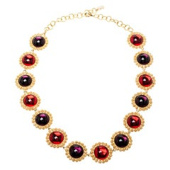 Dolce and Gabbana Multicolor Resin Filigree Beaded Gold Tone Necklace