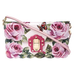 Dolce and Gabbana Multicolor Rose and Butterfly Printed Patent Leather Flap Shou