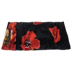 Dolce and Gabbana Multicolor Rose Print Satin Miss Lady Clutch