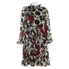 Dolce and Gabbana Multicolor Rose Printed Silk Long Sleeve Dress M