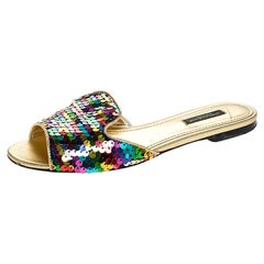 Dolce and Gabbana Multicolor Fabric And Leather Trim Flat Slides Size 37.5