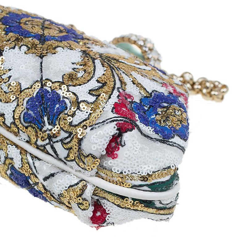 Dolce and Gabbana Multicolor Sequins Frame Convertible Clutch For Sale 6