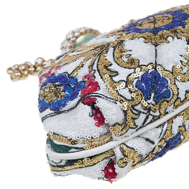 Dolce and Gabbana Multicolor Sequins Frame Convertible Clutch For Sale 7